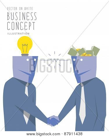 Two Businessmen Exchange Money With Idea  And Handshake. Agreement And Success Flat Vector.