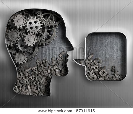Metal head with brain gears and speech bubble