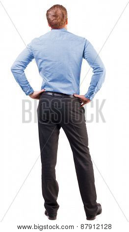 back view of Business man  looks ahead. Young guy in pink shirt watching.  Rear view collection.  Isolated over white background. broad-office worker put his hands on his hips thoughtfully reflects