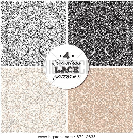 Set of seamless lace backgrounds, delicate vintage patterns