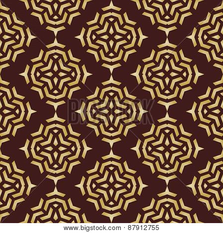 Geometric Abstract Seamless  Pattern with Brown and Golden Colors