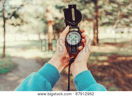 Traveler Holding A Compass  In Summer Forest