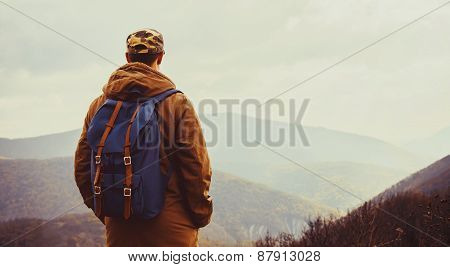 Hiker Man Enjoying View Of Mountains