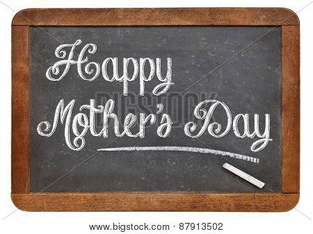 Happy Mother's Day in white chalk on a vintage slate blackboard