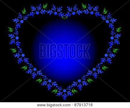 Blue heart with flowers and leaves for Valentine's Day. EPS10 vector illustration