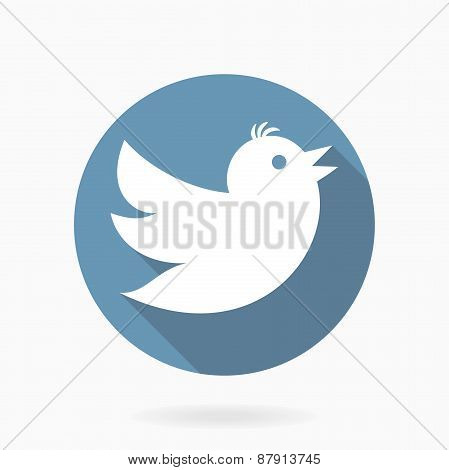 Flying White Bird  With Flat Design