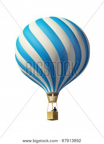 Isolated On White 3D Blue Balloon
