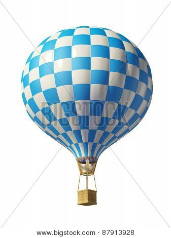 Isolated On White 3D Blue-white Balloon