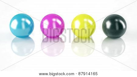 Set Of Balls Isolated On White: Cmyk Colors