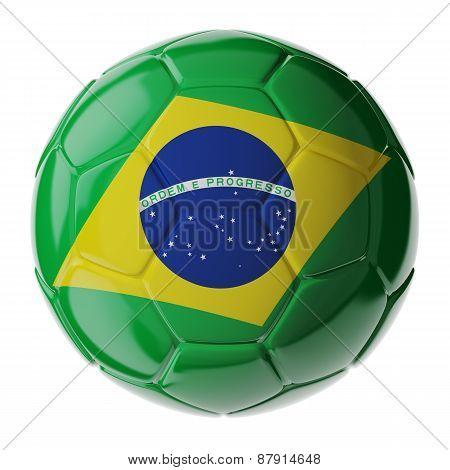 Soccer Ball. Flag Of Brazil