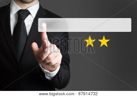 Businessman Pushing Flat Button Two Golden Rating Stars
