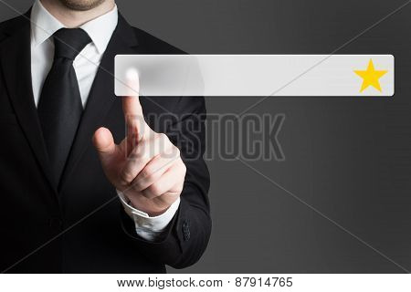 Businessman Pushing Flat Button One Golden Rating Stars