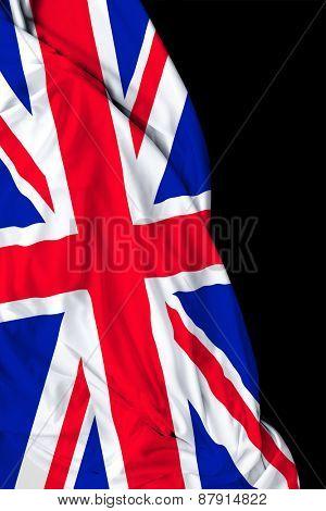 UK waving flag on black background