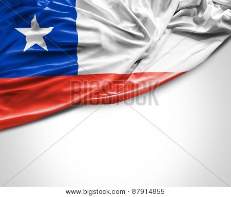 Chilean waving flag on a white background