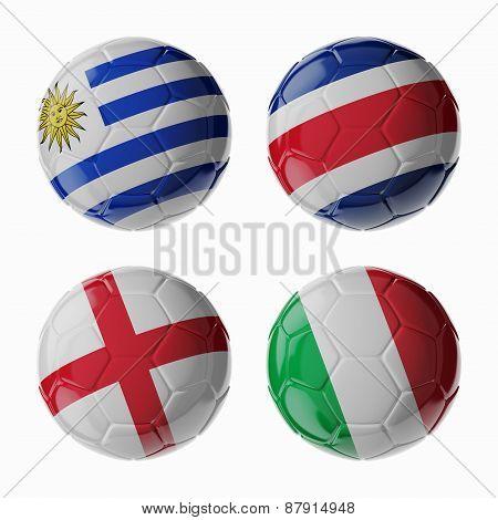 Football Worldcup 2014. Group D. Football/soccer Balls.