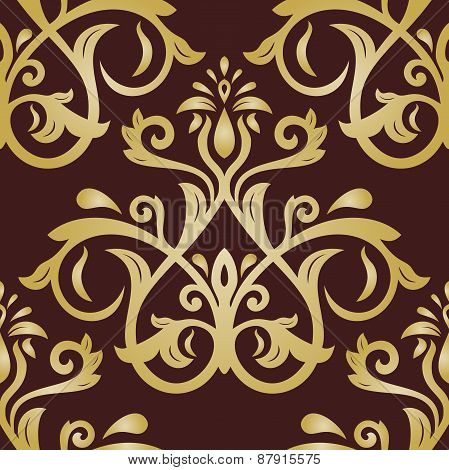 Damask Seamless  Golden Pattern. Orient Background