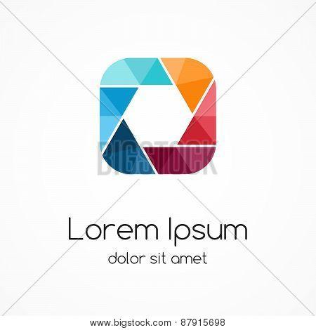 Logo template. Modern vector abstract square and hexagon creative sign or symbol. Design geometric e
