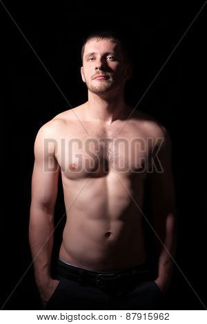 Portrait Of Shirtless Handsome Man