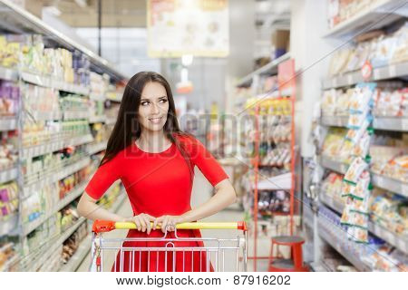 Happy Woman Sopping  at The Supermarket