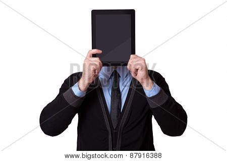 Businessman Holding Up A Tablet Pc In Front Of His Face