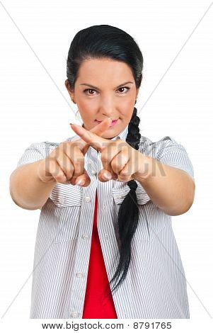 Woman  Forming With Fingers A Cross Sign