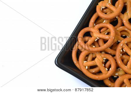 Isolated Plate With Crunchy Pretzel