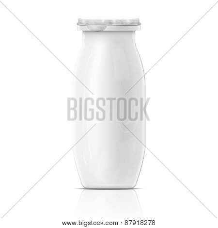 Small white yougurt bottle template.