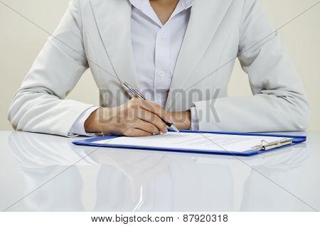 Business writing on documents