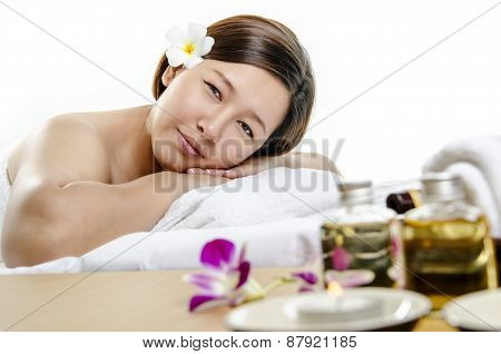 Portrait of young lady at spa and massage