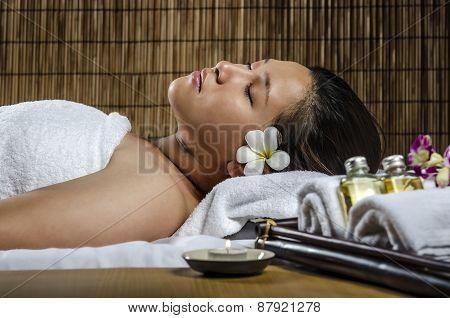 Closeup of relaxing woman