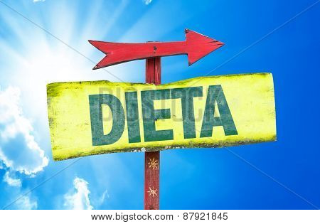 Diet (in Portuguese) sign with sky background