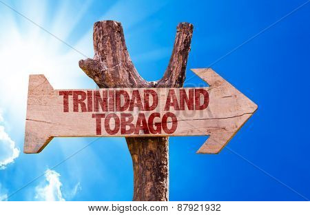 Trinidad and Tobago wooden sign with sky background