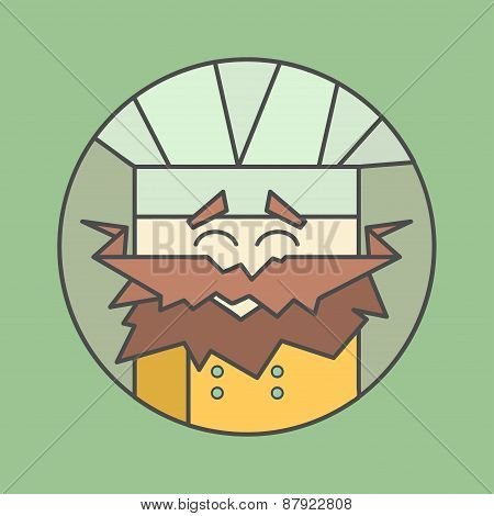 Flat vector icon of cute smiling chef from triangles with mustaches