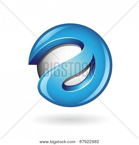 Round Glossy Letter A 3d Blue Shape Vector Illustration