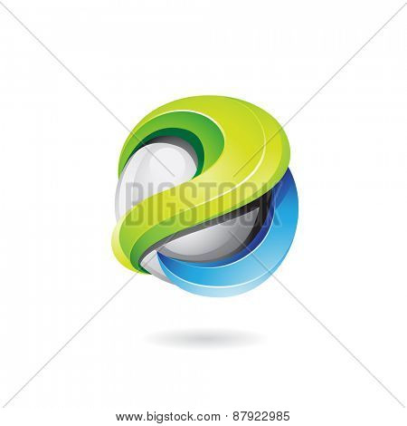 Vector illustration of a 3d glossy shape in green, blue and grey colors