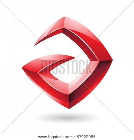 Vector Illustration of a 3d Sharp Glossy Red Shape based on Letter A