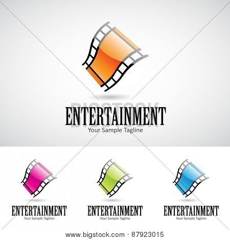 Glossy 3d Cartoon Film Reel Icon Vector Illustration