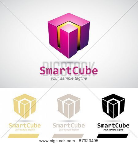 Magenta Shiny 3d Cube Icon Vector Illustration