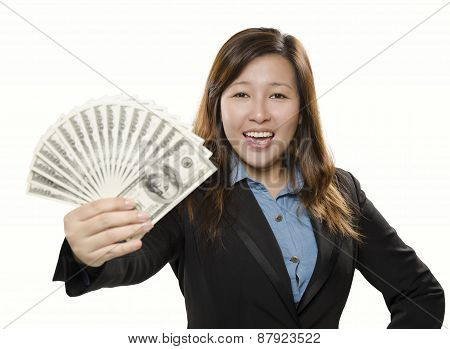 Happy young adult showing money