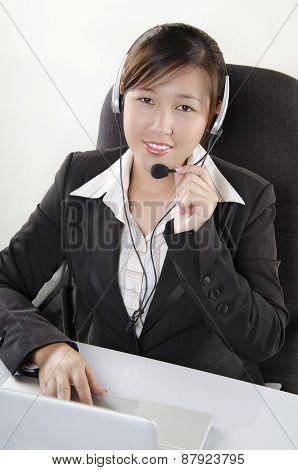 Beautiful customer service agent in call center