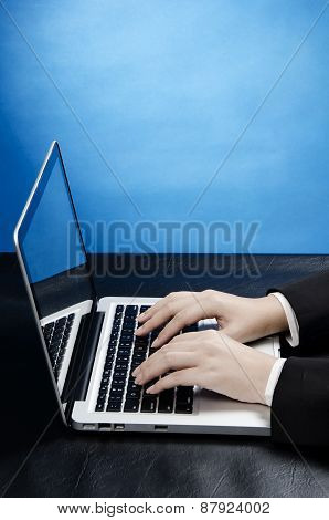 working with computer