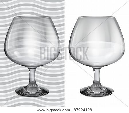 Transparent And Opaque Realistic Brandy Glasses