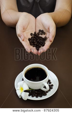 portraiture of holding coffee seed