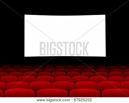 Blank Cinema Screen With Empty Seats