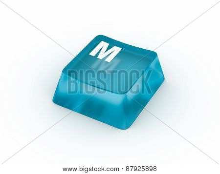 Letter M on transparent keyboard button