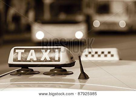 Emblem Taxi In Tone Sepia
