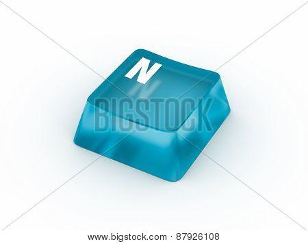Letter N on transparent keyboard button