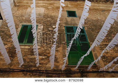 green window-shutter