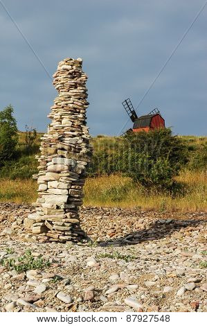 Rock Piles At The Coast Of The Swedish Island Oland