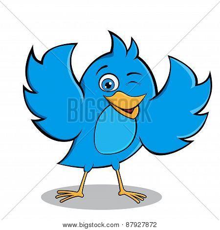 Happy Blue Bird Vector Mascot Design